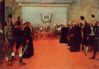'El Congreso de Tucumán', oleo sin información del artista tomado de gedemente.blogspot.com