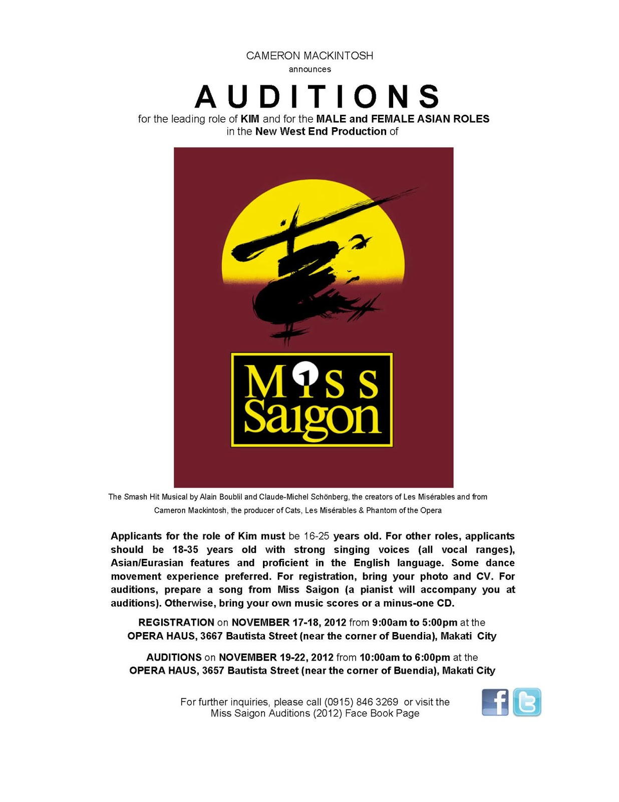 Registration Open for MISS SAIGON Auditions