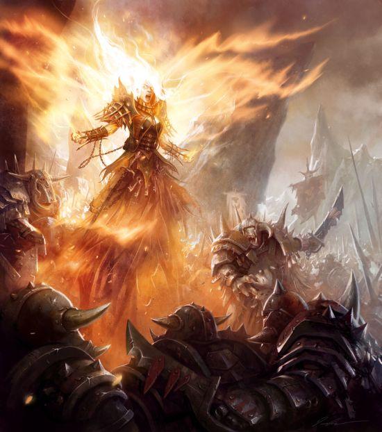 mike lim daarken ilustrações fantasia medieval violência batalhas monstros arte conceitual video games A chama do herói em batalha