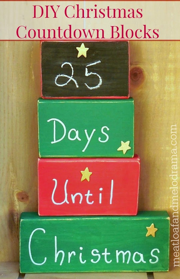 Red and green wood blocks with days until christmas and chalkboard
