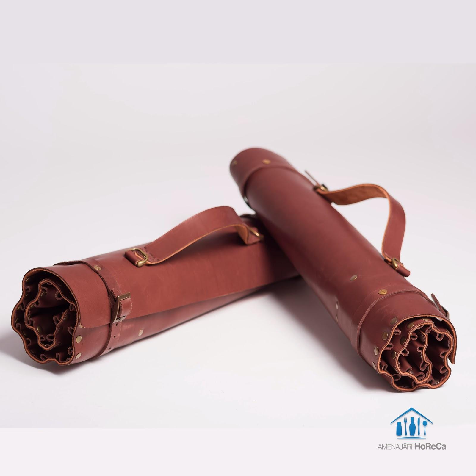 Husa, trusa din piele naturala pentru cutite profesionale