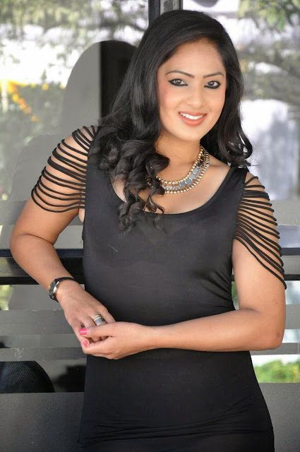 Actress Nikesha Patel Latest  Pictures in Black Short Dress 6.JPG