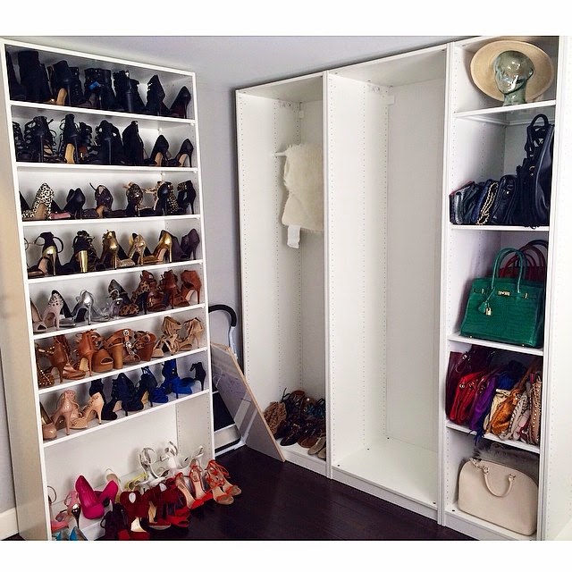 Ikea Pax System, Walk in Cloest, Ikea Pax, Ikea Cloest, Shoe Closet, White Closet, Built-in walkin closet, Shoes, Heels