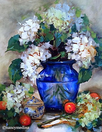 Painting one of my favorite flowers today in Alton, Illinois - New Love White Hydrangeas, 20X16, oil. Tomorrow we wrap up four days of making flowers bloom in brilliant color, I'll sure miss all these talented gals! http://nancymedina.fineartstudioonline.com/workszoom/1500427