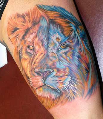 Colored Lion Tattoo - leao colorido