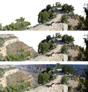 Panoramic image separated into four parts