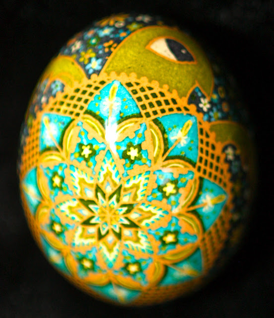 Etched Brown Egg Pysanky, Ukrainian Egg, Russian Egg, Easter Egg, Batik Folk Art