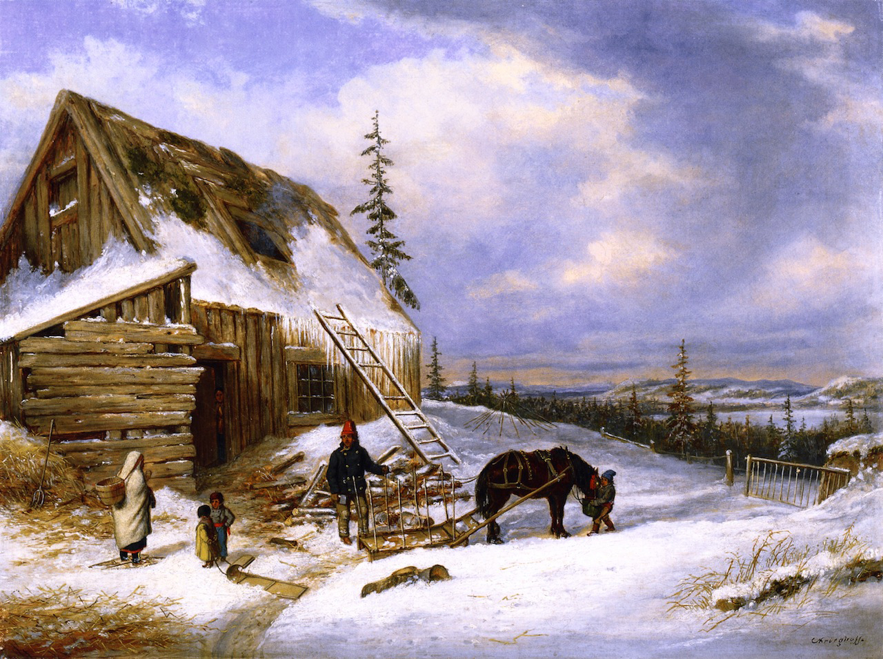 19th century american paintings cornelius krieghoff ctd for Log cabin painting