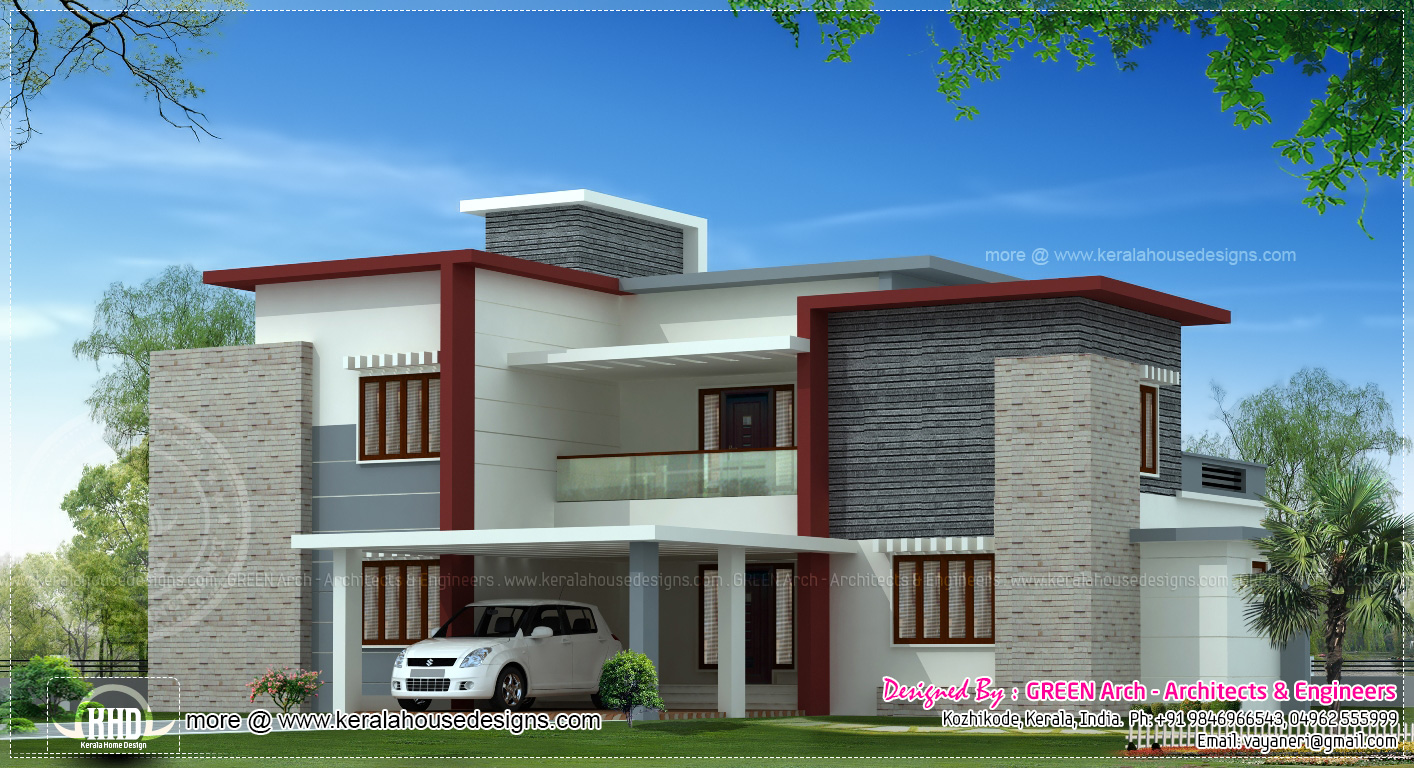 World small front flat house design modern house for Contemporary roof