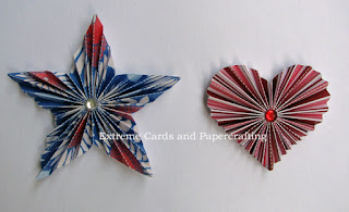 pleated star and pleated heart valentine