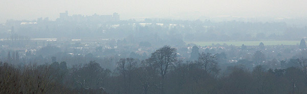 Windsor Castle on the horizon from the Air Force memorial at Runnymede