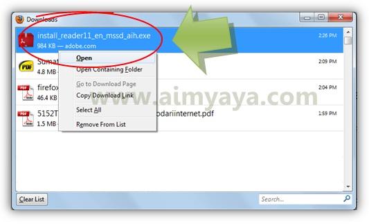 Gambar: Menjalankan  installer adobe reader