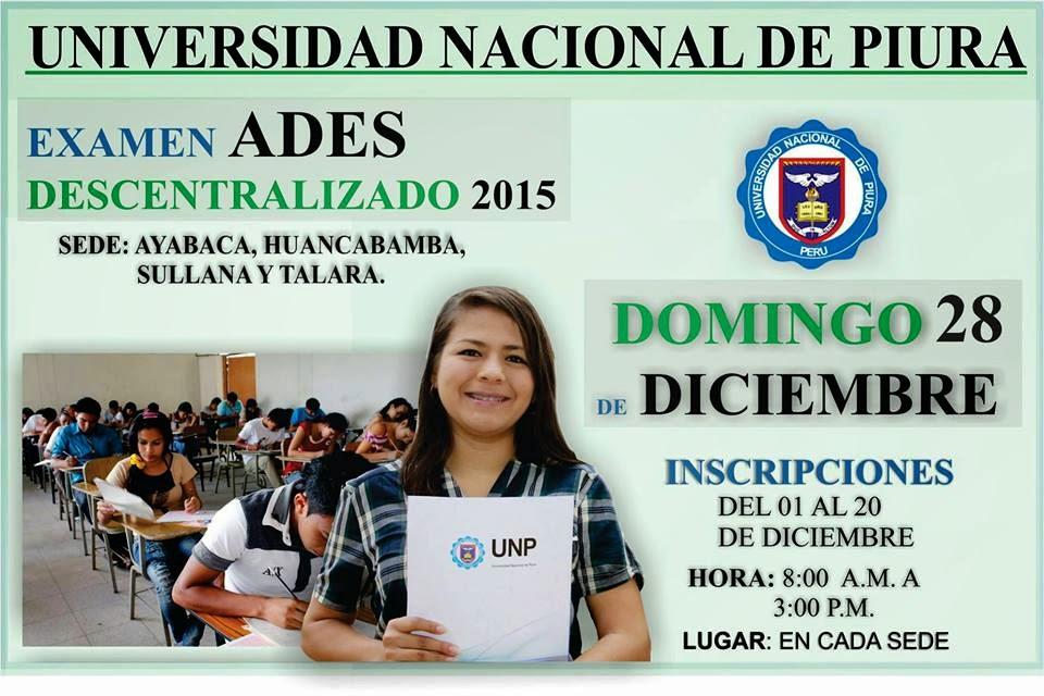 Resultados del Examen de Admision ADES UNP 2015 Descentralizado del 28 ...