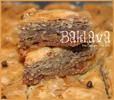 Baklava is a traditional Greek dessert made with phyllo dough, walnuts and a special syrup. It is best made well in advance of serving so the ingredients have time to soak into the phyllo dough. Mmmm.