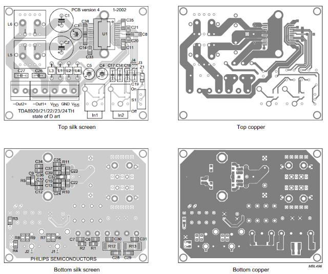 pcb layout TDA8922 Audio Amplifier 2 x 25W
