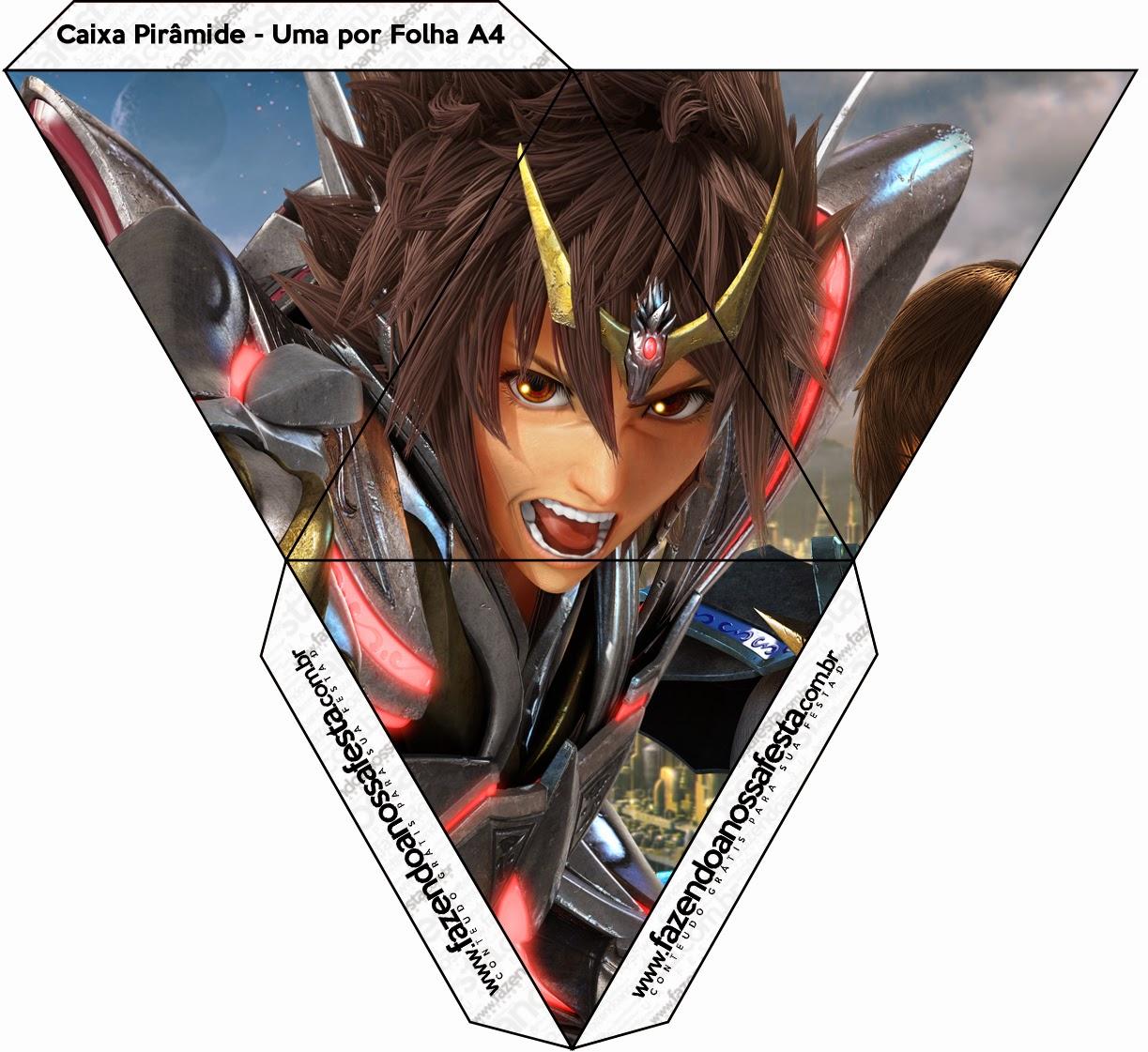 Caja con forma de pirámide de Caballeros del Zodiaco.