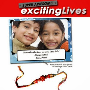 Excitinglives : Personalised postcard & Rakhi Rs. 48