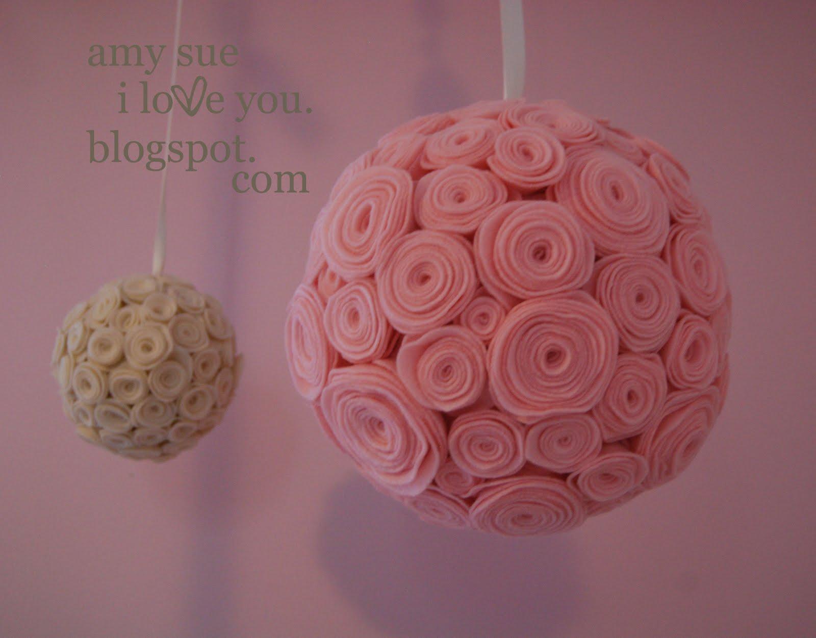 Amy Sue I Love You felt flower balls [or bouquets]