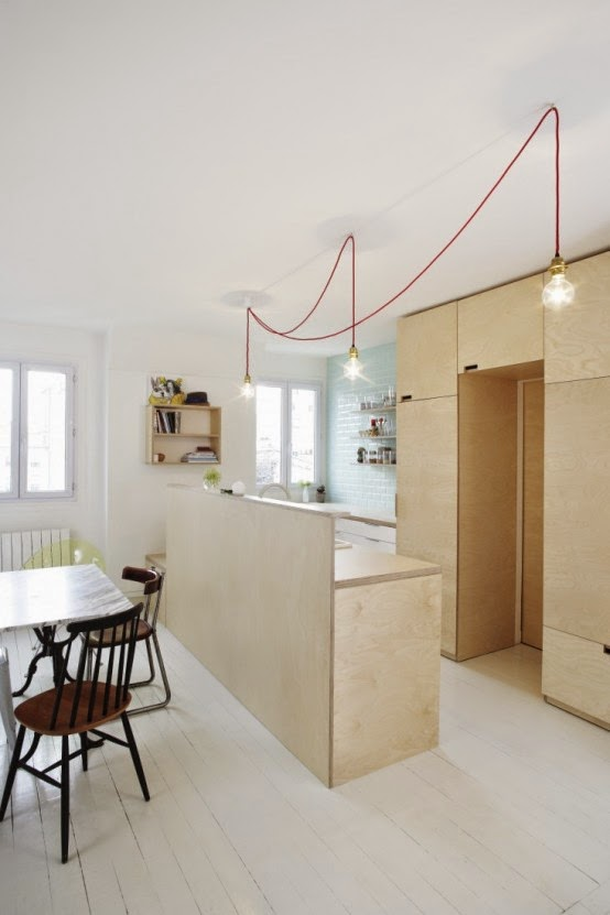 Compact Scandinavian-Styled Plywood Kitchen With Mint Touches 2