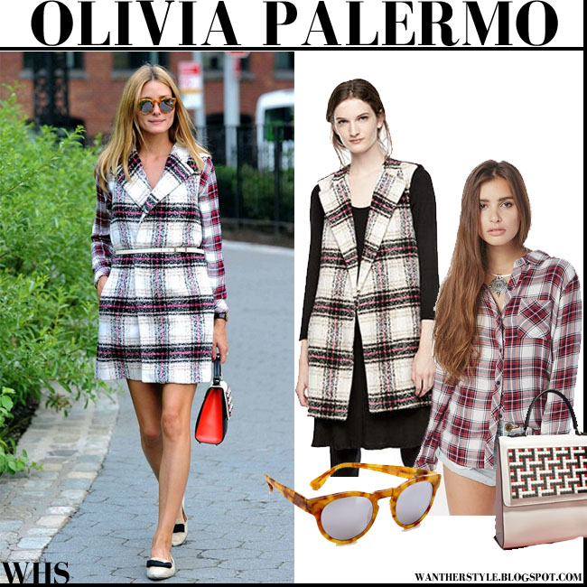 Olivia Palermo in plaid coat thakoon kohls and plaid rails shirt fall autumn style trend 2015