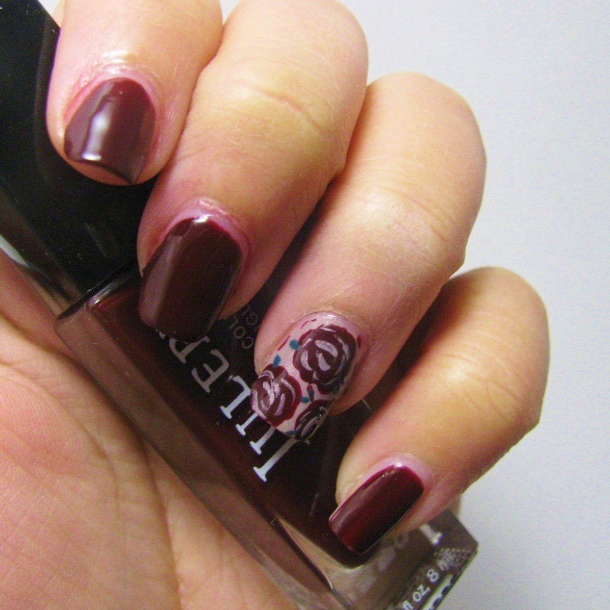 The Super Secret Nail Blog: Marsala Rose Nail Art