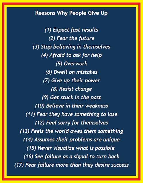17 reasons why people give up