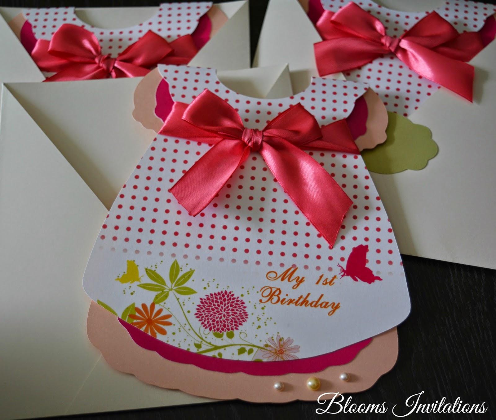 Baby girl dress first birthday invitation