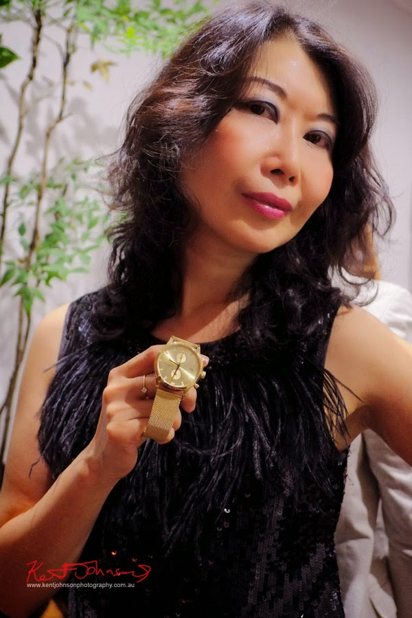 Vivienne modelling the Chrono 'Sort of Black GOLD' TRIWA Watch, at BELANCÉ Sydney