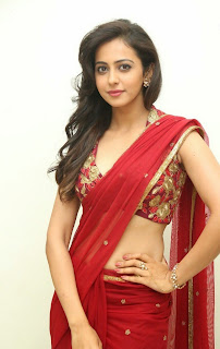 Actress Rakul Preet Singh  Pictures in Red Saree at Tiger Audio Release Function  69