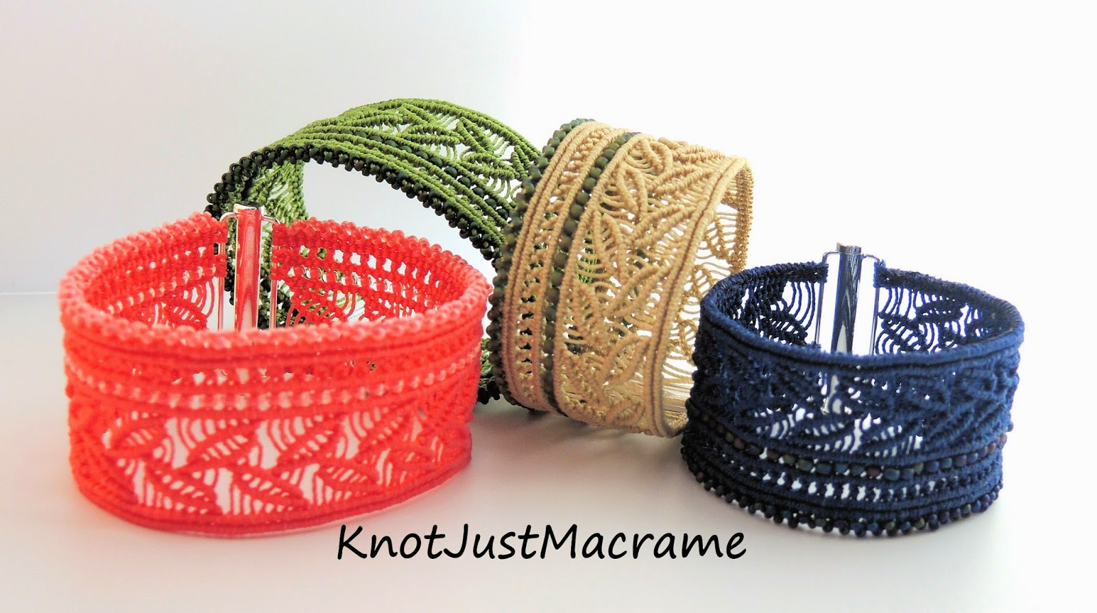 Colorful micro macrame cuff design for new class by Sherri Stokey.