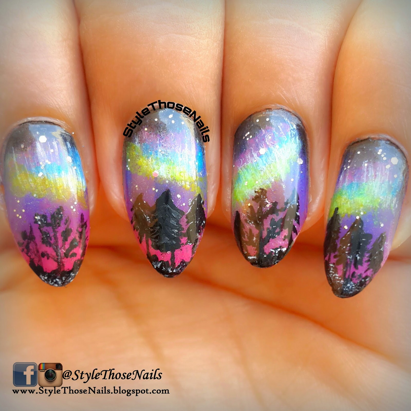 Style Those Nails Northern Lights Nail Art 52wpnmc Brush Stroke