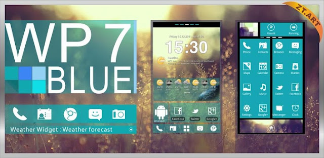 Android WP7blue Theme GO Launcher EX free download