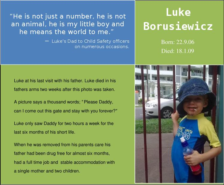 Luke's Army - A legacy impacting upon the Child Protection System (CPS, DoCS, DHS, DSS)