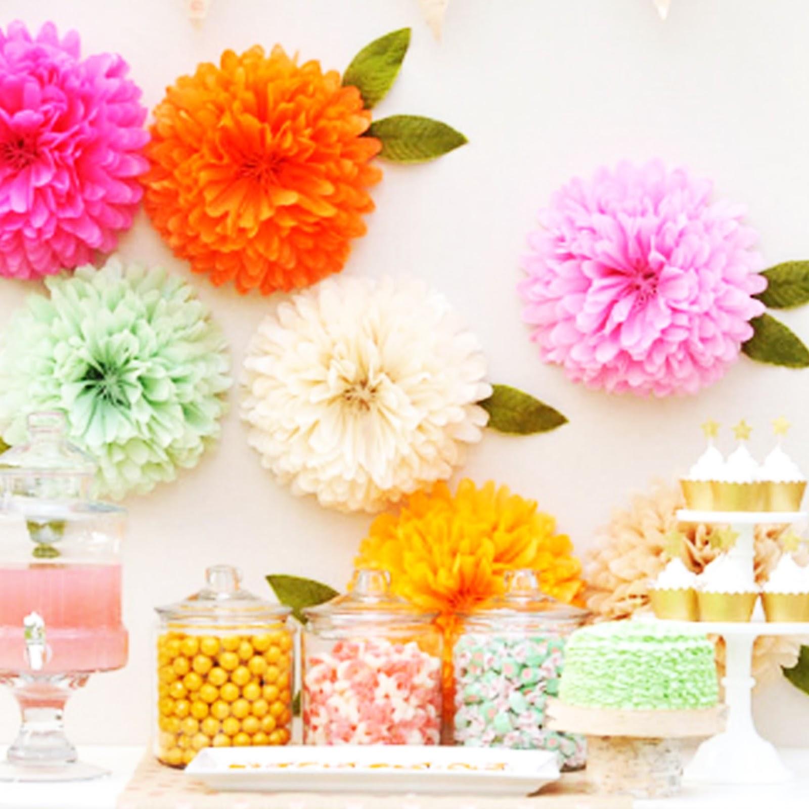 Flores con papel de seda car interior design - Como hacer pompones ...