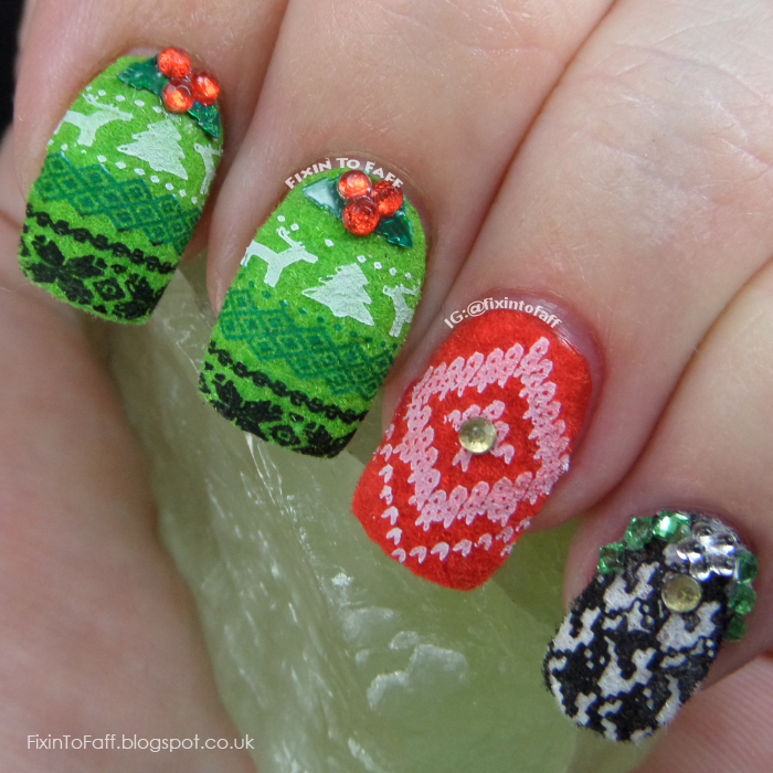 Ugly sweater nail art created with flocking powder, stamping, rhinestones, and glitter.