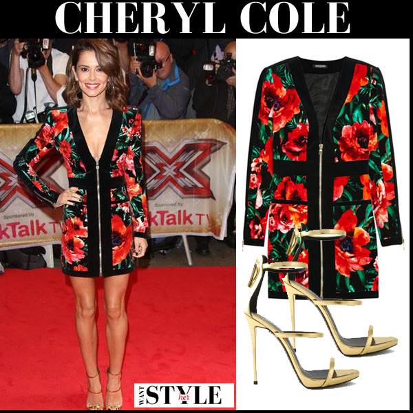 Cheryl Cole in black and red floral print mini Balmain dress and gold sandals x factor red carpet