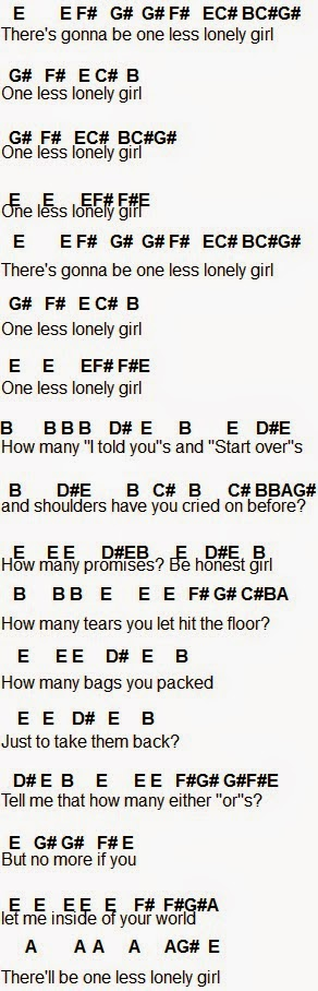 Flute Sheet Music: One Less Lonely Girl