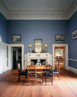 The Dining Room At Monticello Showing The Previous Blue Paint Scheme