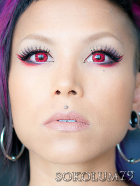 Red winged liner with red circle lenses