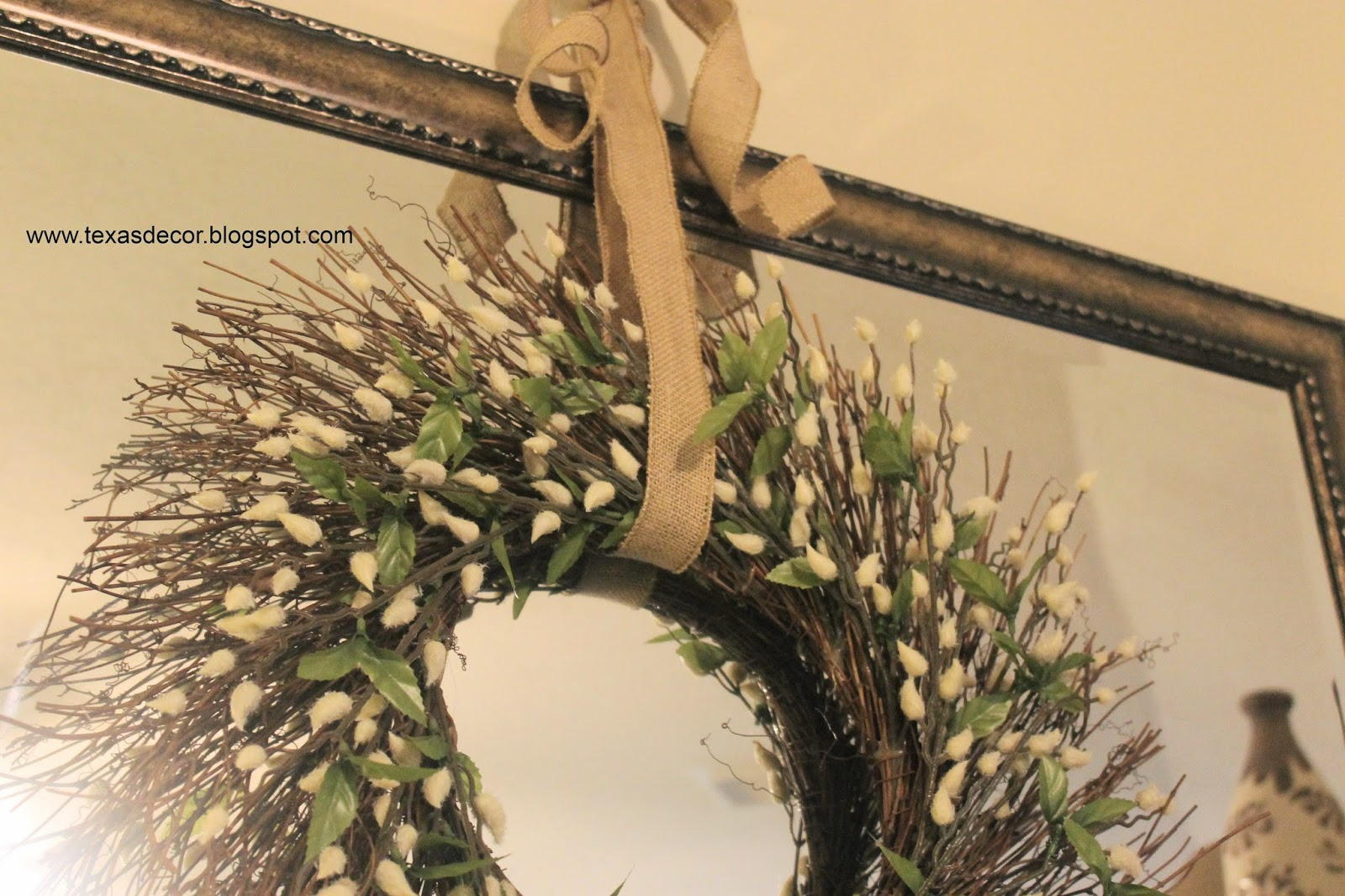 hanging wreath on mirror