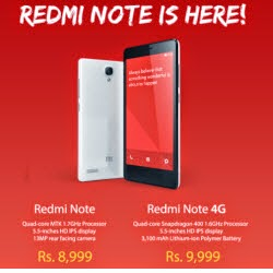 (Register) Redmi Note Rs. 8999, Redmi Note 4G Rs. 8999 at Flipkart : BuyToEarn