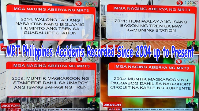 MRT Philippines Accidents Recorded Since 2004 up to Present