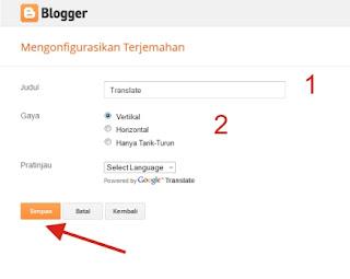 Cara Mudah memasang Widget Google Translate di Blog