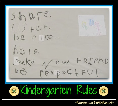 photo of: Handwritten Kindergarten Rules