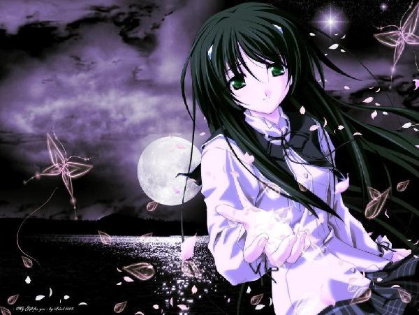 anime wolf girl with white hair. anime wolf girl. sad anime