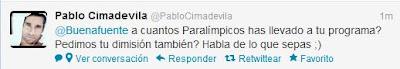 Cimadevila responde a un tuit de Buenafuente