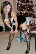 Goth teen Dawn Avril Christmas striptease