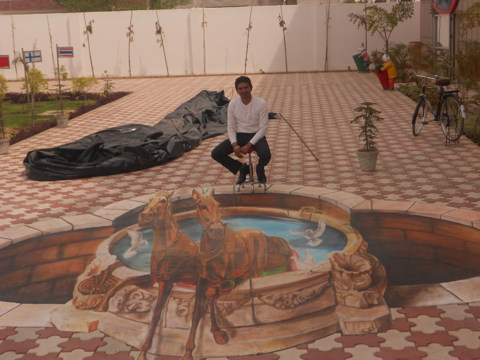 3d street painting india a latest one for 3d mural art in india