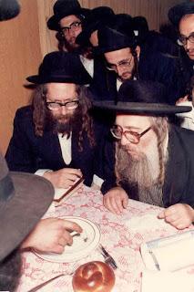 "Rav Meir Brandsdorfer ztz""l with Rav Eliezer Berland shlit""a in ealier years"
