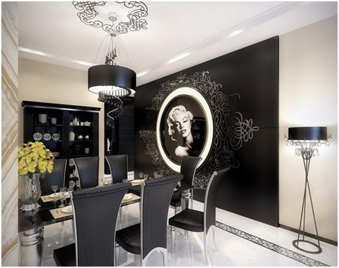BLACK AND WHITE VINTAGE LIVING AND DINING ROOM